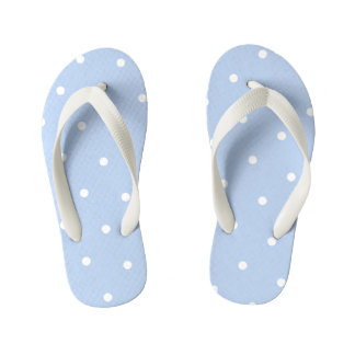 Pale Blue Polka Dot Kids Flip Flops