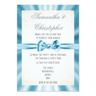 Pale blue ribbon simple wedding card