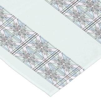 Pale Blue Snowflake Short Table Runner