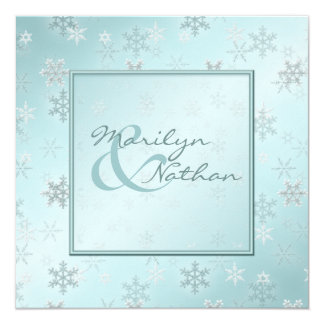 Pale Blue Snowflakes Wedding Invitation