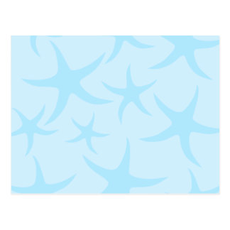 Pale Blue Starfish Pattern. Postcard