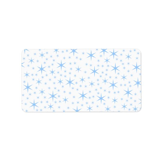 Pale Blue Stars Pattern. Label
