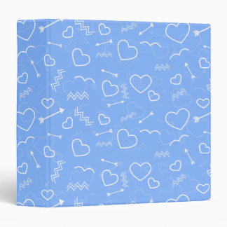 Pale Blue Valentines Love Heart and Arrow Doodles Binder