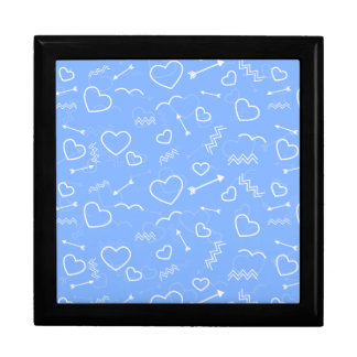 Pale Blue Valentines Love Heart and Arrow Doodles Gift Box