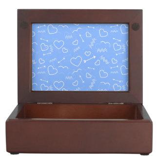 Pale Blue Valentines Love Heart and Arrow Doodles Keepsake Box