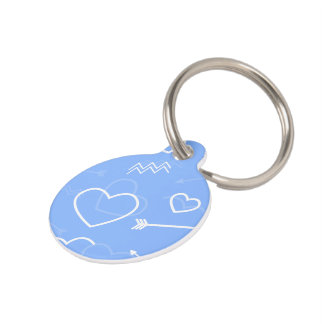 Pale Blue Valentines Love Heart and Arrow Doodles Pet Name Tag