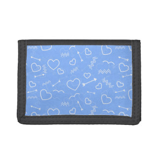Pale Blue Valentines Love Heart and Arrow Doodles Trifold Wallet