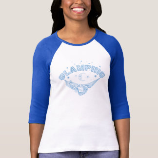 Pale Blue Vintage Glamping Lady Design T-Shirt