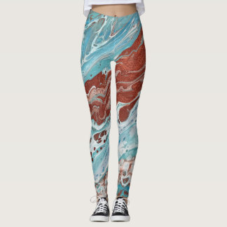 "Pale Blues & Copper Abstract Leggings - ""Bella"""
