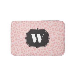Pale Blush Pink Leopard Print Monogrammed Bathroom Mat