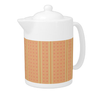 Pale Brown Heart Medium Teapot
