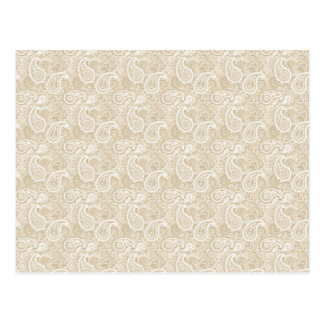 Pale Brown Paisley Postcard