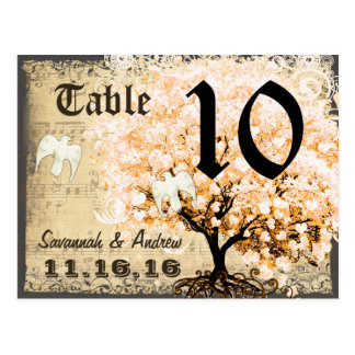 Pale Coral Heart Leaf Tree Table Number Card Postcard