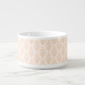 Pale coral Pink and white Elegant Damask Pattern Chili Bowl