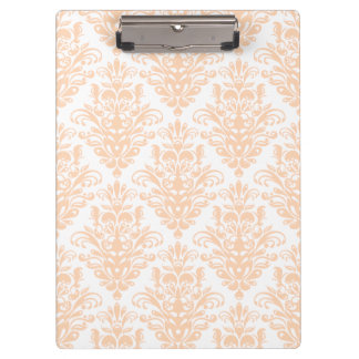 Pale coral Pink and white Elegant Damask Pattern Clipboard