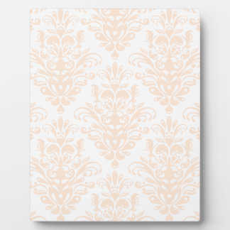 Pale coral Pink and white Elegant Damask Pattern Plaque