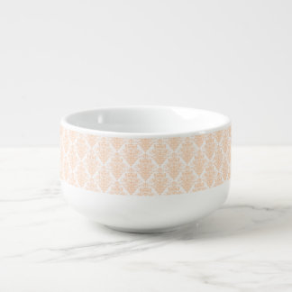 Pale coral Pink and white Elegant Damask Pattern Soup Bowl With Handle