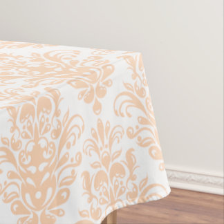 Pale coral Pink and white Elegant Damask Pattern Tablecloth