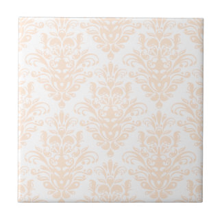 Pale coral Pink and white Elegant Damask Pattern Tile