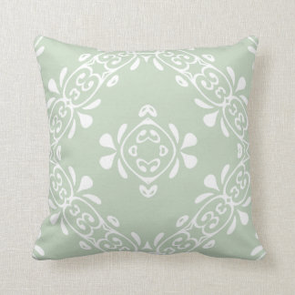 Pale Country Green Scroll Pattern Throw Pillow
