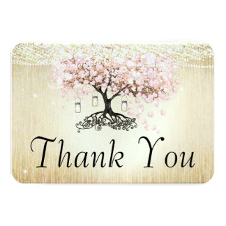 Pale Dogwood Heart Leaf Tree Gold Thank You Card