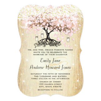 Pale Dogwood Heart Leaf Tree Gold Wedding Invites