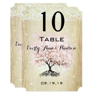 Pale Dogwood Heart Leaf Tree Table Number Card