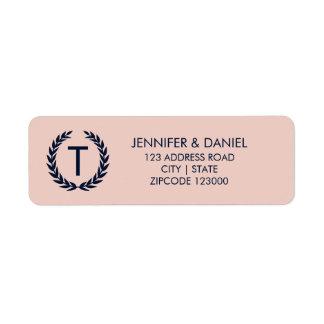 Pale Dogwood Pink & Navy Monogram Address Return Address Label