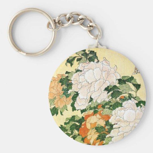 Pale Flowers Basic Round Button Keychain