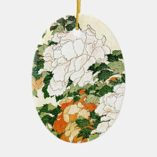 Pale Flowers Ceramic Oval Ornament
