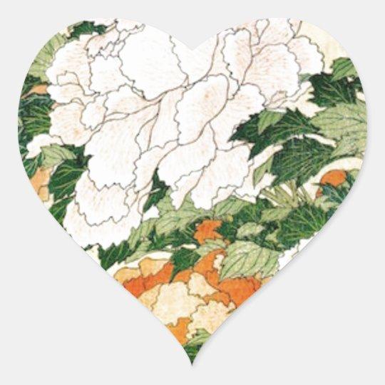 Pale Flowers Heart Sticker