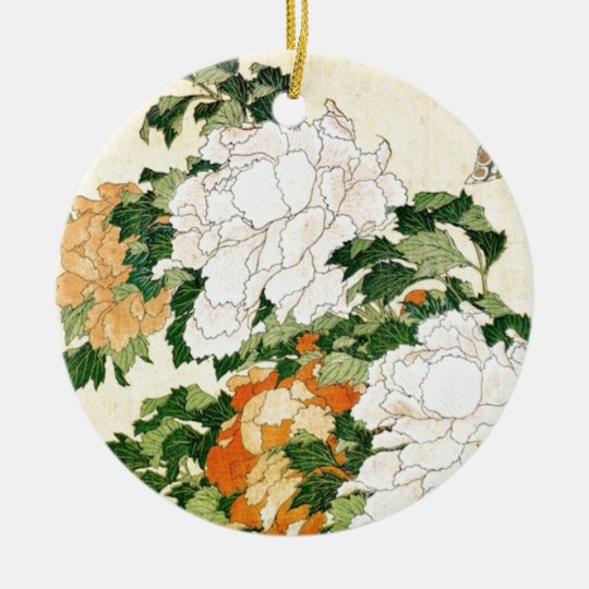 Pale Flowers Round Ceramic Ornament