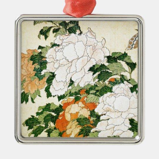 Pale Flowers Silver-Colored Square Ornament