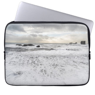 Pale foamy ocean seascape, Iceland Laptop Sleeve