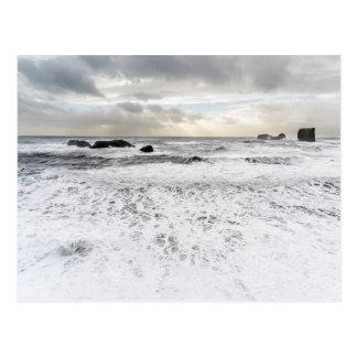 Pale foamy ocean seascape, Iceland Postcard