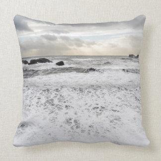 Pale foamy ocean seascape, Iceland Throw Pillow