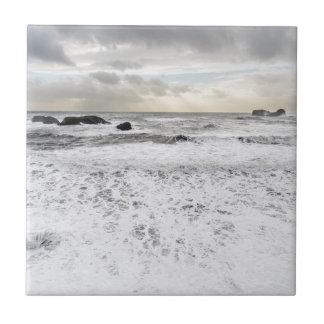 Pale foamy ocean seascape, Iceland Tile