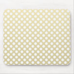 Pale Gold and White Polka Dots Mouse Pads