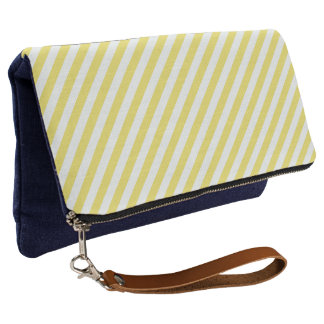 Pale Gold and White Stripes by Shirley Taylor Clutch