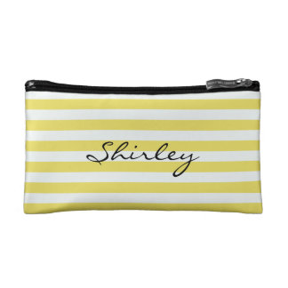 Pale Gold and White Stripes by Shirley Taylor Cosmetic Bag