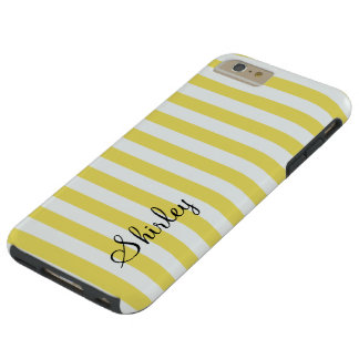 Pale Gold and White Stripes by Shirley Taylor Tough iPhone 6 Plus Case