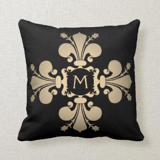 Pale gold monogrammed fleur de lis cross throw pillow