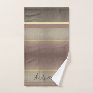 PALE GOLD MOUVE ROYAL VINTAGE STRIPS PERSONALISED HAND TOWEL