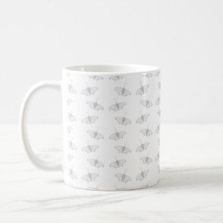 Pale Gray Butterfly Pattern. Coffee Mug