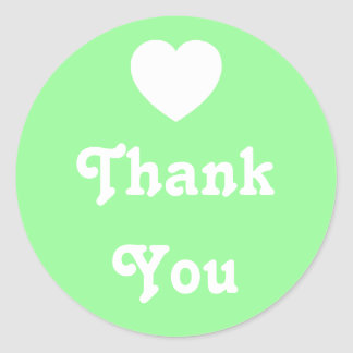 Pale Green and White Heart Thank You Classic Round Sticker