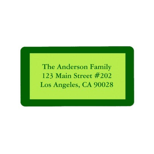 Pale green border label
