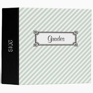 Pale Green Digonal Stripes Vintage Label 3 Ring Binder