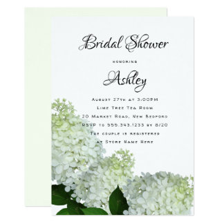 Pale Green Floral Bridal Shower Hydrangea Invites