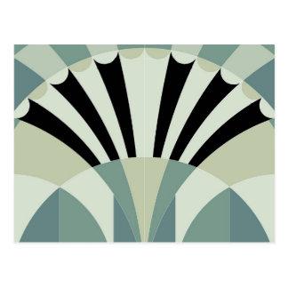Pale Green Geometric Lines Postcard
