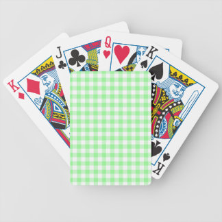 Pale Green Gingham Bicycle Playing Cards